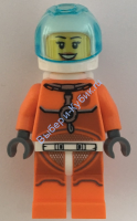 Astronaut - Female, Orange Spacesuit with Dark Bluish Gray Lines, Trans Light Blue Large Visor, Open Mouth Smile