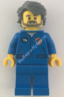 Astronaut - Male, Blue Jumpsuit, Dark Bluish Gray Hair and Full Angular Beard, Open Mouth Smile