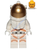 Astronaut - Male, White Spacesuit with Orange Lines, Smirk, Cheek Lines, Black and Dark Tan Eyebrows