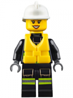 Fire - Reflective Stripes with Utility Belt and Flashlight, Life Preserver, White Fire Helmet, Peach Lips Open Mouth Smile