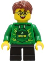 Boy - Green Ninjago Hoodie, Black Short Legs, Reddish Brown Hair