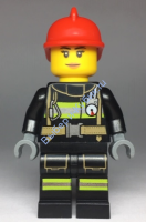 Fire - Reflective Stripes with Utility Belt, Red Fire Helmet, Peach Lips Closed Mouth Smile