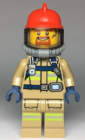 Fire - Reflective Stripes, Dark Tan Suit, Red Fire Helmet, Open Mouth with Goatee, Breathing Neck Gear with Blue Airtanks