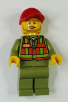 Train Driver - Orange Safety Vest with Lime Straps, Olive Legs, Red Cap with Hole, Beard Dark Tan Angular
