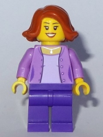 Mom - Medium Lavender Jacket over Lavender Shirt, Dark Purple Legs, Dark Orange Short Hair Swept Sideways (31068)