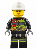 Fire - Reflective Stripes with Utility Belt and Flashlight, White Fire Helmet, Peach Lips