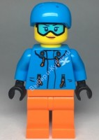 Skier Female, Dark Azure Jacket and Helmet, Goggles with Peach Lips