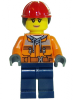 Construction Worker - Chest Pocket Zippers, Belt over Dark Gray Hoodie, Red Construction Helmet with Long Hair, Peach Lips