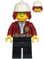 Fire Chief - Freya McCloud, Dark Red Jacket, Black Legs, White Fire Helmet, Dark Red Hair