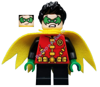 Robin - Green Mask and Hands, Black Short Legs, Yellow Scalloped Cape
