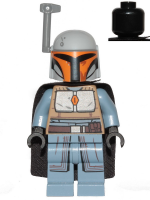Mandalorian Tribe Warrior - Female, Black Cape, Light Bluish Gray Helmet with Antenna / Rangefinder