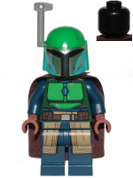Mandalorian Tribe Warrior - Female, Dark Brown Cape, Green Helmet with Antenna / Rangefinder