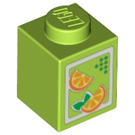 Lime Brick 1 x 1 with Oranges Pattern (Juice Carton)  4622047