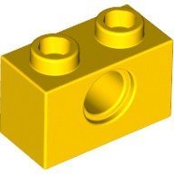 Yellow Technic, Brick 1 x 2 with Hole  370024