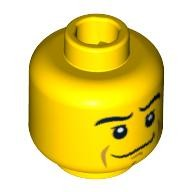 Yellow Minifig, Head Male Crooked Smile, Black Eyebrows, White Pupils, Chin Dimple Pattern - Stud Recessed  4610938