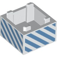 White Container, Box 2 x 2 x 1 - Top Opening with Medium Blue Diagonal Stripes Pattern  6224327