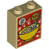 Tan Brick 1 x 2 x 2 with Inside Stud Holder with Cereal Bowl, Wheat and Exclamation Marks Cereal Box Pattern  6104509