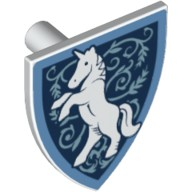 White Minifig, Shield Triangular with Medium Blue Border, White Rearing Unicorn, Metallic Blue Filigree Pattern  6223907