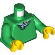 Green Torso Sweater V-Neck over Button Down Blue Shirt Pattern / Green Arms / Yellow Hands Catalog: Parts: Minifigure, Torso Assembly 4586882 or 6037790