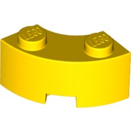Yellow Brick, Round Corner 2 x 2 Macaroni with Stud Notch and Reinforced Underside  4557533 or 6064227