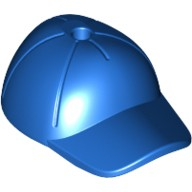Blue Minifigure, Headgear Cap - Short Curved Bill with Seams and Hole on Top  6032176