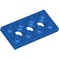 Blue Technic, Plate 2 x 4 with 3 Holes  370923
