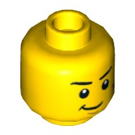 Yellow Minifig, Head Dual Sided Black Eyebrows, White Pupils, Scratches, Determined / Scared Pattern - Stud Recessed  4655810