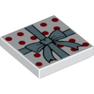 White Tile 2 x 2 with Metallic Blue Ribbon and Bow, Red Polka Dots Pattern  6224387