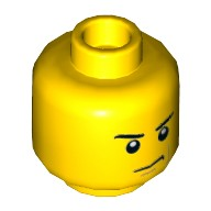 Yellow Minifig, Head Male Angry Eyebrows and Scowl, Reddish Brown Left Cheek Line Pattern - Stud Recessed  6100217