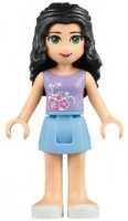 Friends Emma, Bright Light Blue Skirt, Medium Violet Top with Flowers