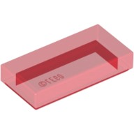 Trans-Red Tile 1 x 2 with Groove  4189801 or 6251290
