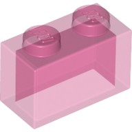 Trans-Dark Pink Brick 1 x 2 without Bottom Tube  4129873 or 6096995 or 6244913