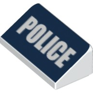 White Slope 30 1 x 2 x 2/3 with White 'POLICE' on Dark Blue Background Pattern  6100792
