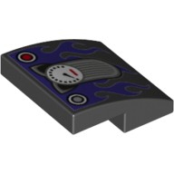 Black Slope, Curved 2 x 2 No Studs with Cat Ears Speedometer and Dark Purple Flames Pattern  6172456