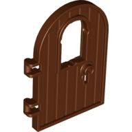 Reddish Brown Door 1 x 4 x 6 Round Top with Window and Keyhole, Reinforced Edge  4561915
