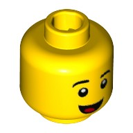 Yellow Minifig, Head Black Eyebrows, Smile with Tongue Pattern - Stud Recessed  6223153