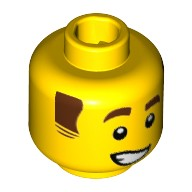 Yellow Minifig, Head Reddish Brown Eyebrows and Sideburns, Lopsided Grin with Teeth Pattern - Stud Recessed  6223337