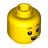 Yellow Minifigure, Head with Dark Orange Small Eyebrows, Small Open Mouth with Teeth and Tongue Pattern - Stud Recessed  6223436