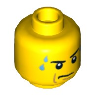 Yellow Minifig, Head Male Stern Black Eyebrows, White Pupils, Frown, Sweat Drops Pattern - Blocked Open Stud  4654328