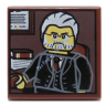 Reddish Brown Tile 2 x 2 with Portrait of Male Minifig with Gray Hair, Beard and Black Suit Pattern  6142949