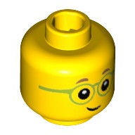 Yellow Minifig, Head with Medium Dark Flesh Eyebrows, Lime Glasses Pattern - Stud Recessed  6223441