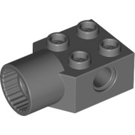 Dark Bluish Gray Technic, Brick Modified 2 x 2 with Pin Hole, Rotation Joint Socket  4225973