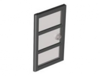 Black Door 1 x 4 x 6 with 3 Panes and Stud Handle with Trans-Black Glass  4534267