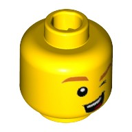 Yellow Minifig, Head with Orange Eyebrows, Winking Left Eye, Open Mouth with Teeth and Tongue Pattern - Stud Recessed  6221342