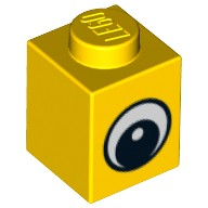 Yellow Brick 1 x 1 with Eye Simple with Black and White Pattern, Circle in Pupil  4569076