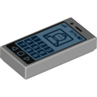 Light Bluish Gray Tile 1 x 2 with Cell Phone with '81%' and Minifig on Screen Pattern  6076806