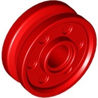 Red Wheel 18mm D. x 8mm with Fake Bolts and Deep Spokes with Inner Ring  6048859