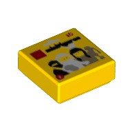 Yellow Tile 1 x 1 with Groove with Series 1 Collectible Minifig Package Pattern  6225015