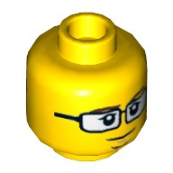 Yellow Minifig, Head Dual Sided Black Glasses, Brown Eyebrows and Goatee, Closed Mouth / Scared Open Mouth Pattern - Stud Recessed  6081293