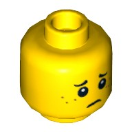 Yellow Minifig, Head Dual Sided Freckles, Smile / Worried Pattern - Stud Recessed  4623416 or 6039464
